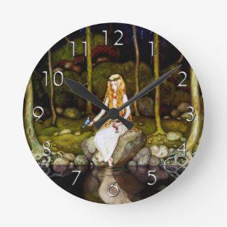 The Princess in the Forest Round Wallclocks