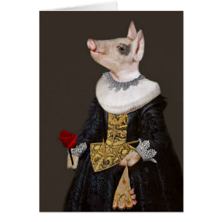 The Princess of Bling - Anthropomorphic Piglet Card