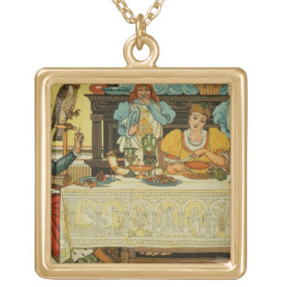The Princess Shares her Dinner with the Frog, from Gold Plated Necklace