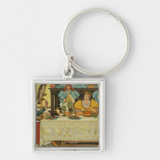 The Princess Shares her Dinner with the Frog, from Silver-Colored Square Keychain