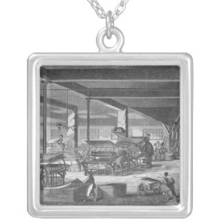The printing presses room silver plated necklace