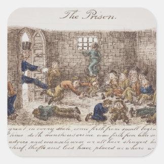 The Prison, 1858 (coloured engraving) Square Sticker