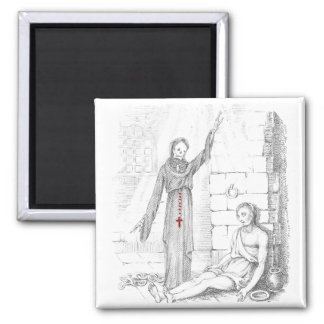 The Prisoner Visited by Death in His Cell 2 Inch Square Magnet