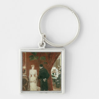 The Private Conversation, 1904 Silver-Colored Square Keychain