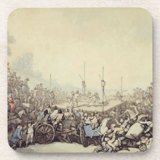 The Prize Fight 1787 pen ink and w c over graph Drink Coasters