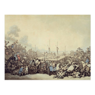 The Prize Fight, 1787 (pen, ink and w/c over graph Postcard