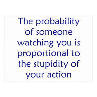 The probability of someone watching you is postcard