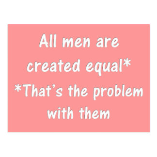 The problem with men postcard