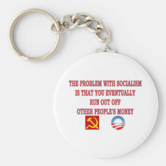 THE PROBLEM WITH SOCIALISM BASIC ROUND BUTTON KEYCHAIN