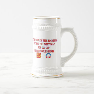 THE PROBLEM WITH SOCIALISM 18 OZ BEER STEIN
