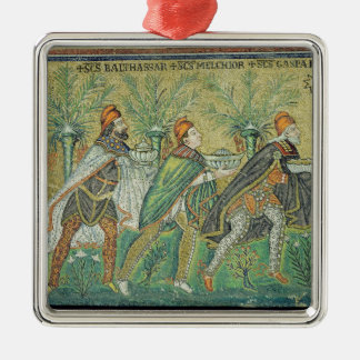 The procession of the three kings square metal christmas ornament