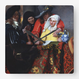 The Procuress by Johannes Vermeer Square Wallclock