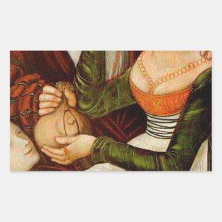 The Procuress by Lucas Cranach the Elder Rectangular Sticker