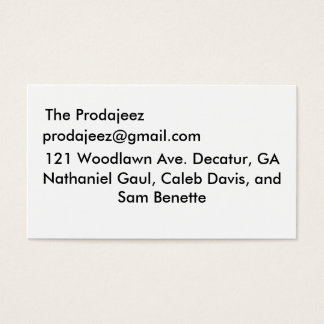 The Prodajeez, prodajeez@gmail.com, 121 Woodlaw... Business Card