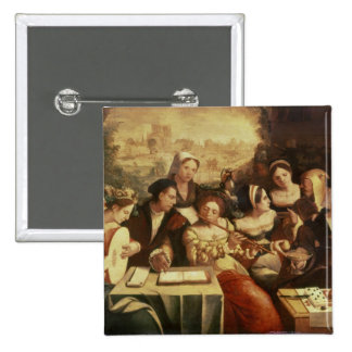 The Prodigal Son Feasting with Harlots 2 Inch Square Button