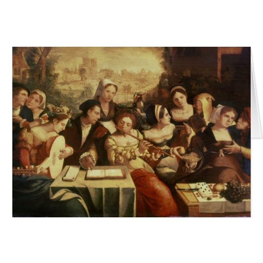 The Prodigal Son Feasting with Harlots Greeting Cards