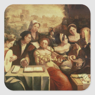 The Prodigal Son Feasting with Harlots Square Sticker