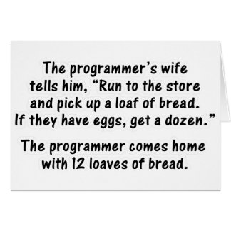 The Programmer and His Wife - Second in a series Card