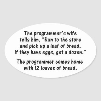 The Programmer and His Wife - Second in a series Oval Sticker