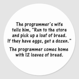 The Programmer and His Wife - Second in a series Classic Round Sticker