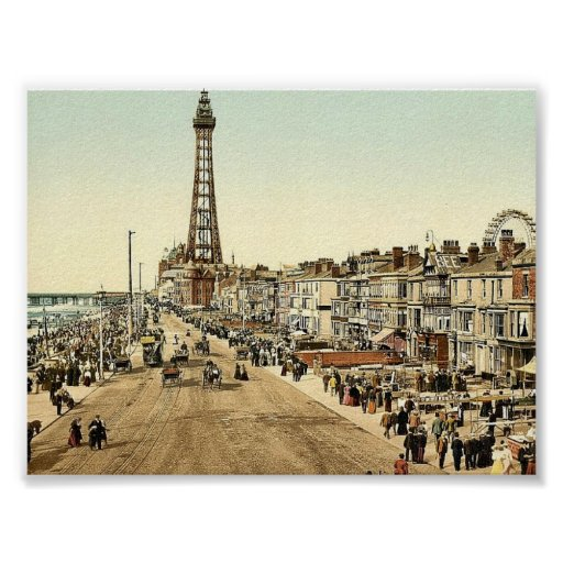 The Promenade, Blackpool, England classic Photochr Poster