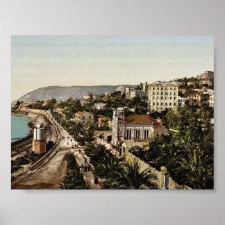 The promenade, San Remo, Riviera classic Photochro Poster