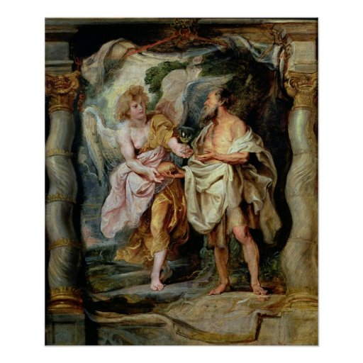 The Prophet Elijah and the Angel Poster