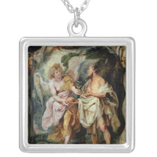 The Prophet Elijah and the Angel Silver Plated Necklace