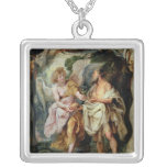 The Prophet Elijah and the Angel Square Pendant Necklace