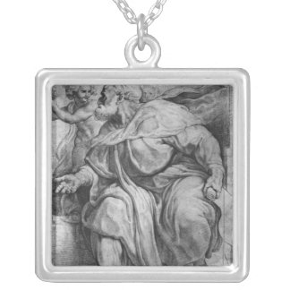The Prophet Ezekiel, after Michangelo Buonarroti Silver Plated Necklace
