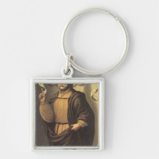 The Prophet Isaiah Silver-Colored Square Keychain