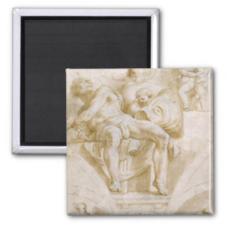 The Prophet Jonah and Two Destroyed Lunettes 2 Inch Square Magnet