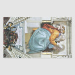 The prophet Zacharias detail by Michelangelo Rectangular Sticker