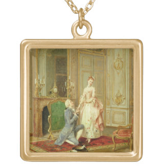 The Proposal (oil on panel) Gold Plated Necklace