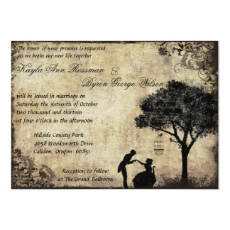 "The Proposal Vintage Wedding Invitation in Black 5"" X 7"" Invitation Card"