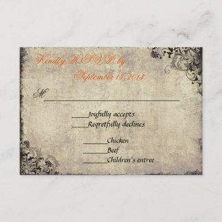 The Proposal Vintage Wedding RSVP in Orange