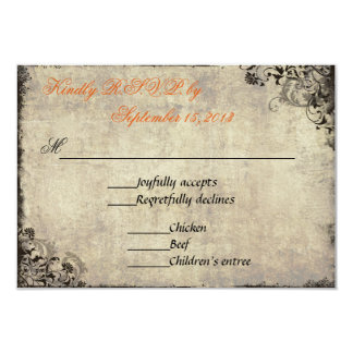 The Proposal Vintage Wedding RSVP in Orange 3.5x5 Paper Invitation Card
