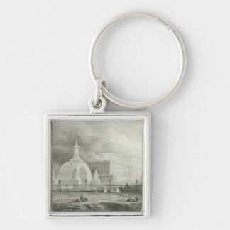 The Proposed Triumphal Arch from Portland Silver-Colored Square Keychain