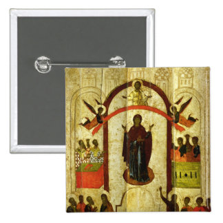 The Protection of the Theotokos  Russian icon 2 Inch Square Button