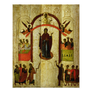 The Protection of the Theotokos  Russian icon Poster