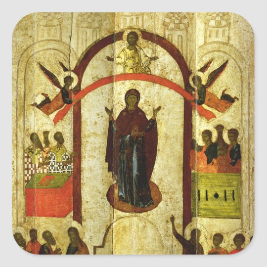 The Protection of the Theotokos  Russian icon Square Sticker