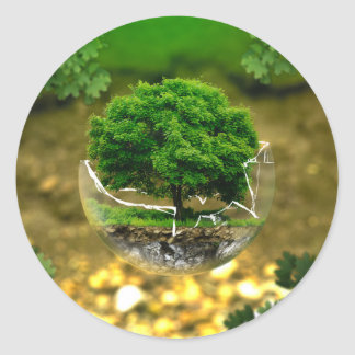 The protection of the tree classic round sticker