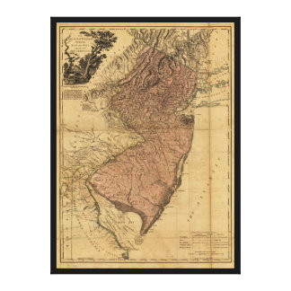 The Province of New Jersey Map (1777) Canvas Print