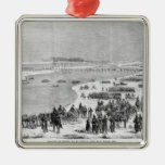 The Prussian army crossing the Shlei at Arnis Metal Ornament