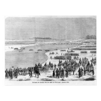 The Prussian army crossing the Shlei at Arnis Postcard