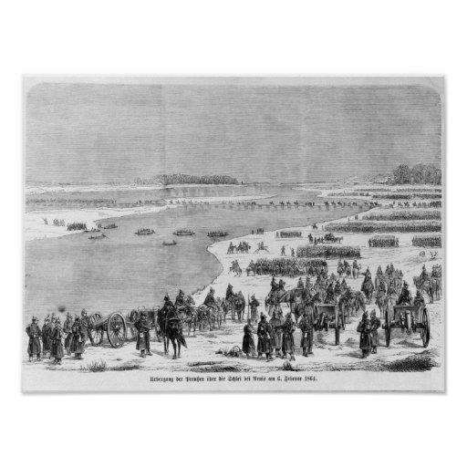 The Prussian army crossing the Shlei at Arnis Poster