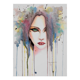 The Psychic Modern Watercolor Portrait of a Woman Posters