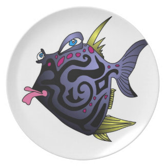 """The Puffer"" Fish With Attitude Melamine Plate"