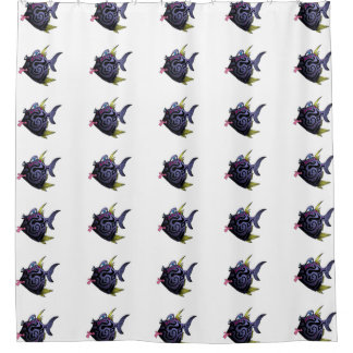 """""""The Puffer"""" Fish With Attitude Shower Curtain"""
