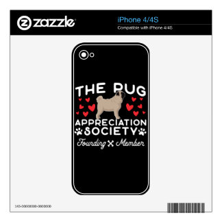 The Pug Appreciation Society Founding Member iPhone 4S Decal